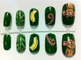 Cute Monkey Hand Painted Nails Set
