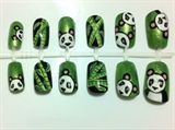 Cute Panda Hand Painted Nails Set