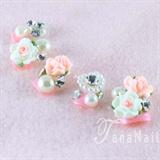 3D flower pink nails