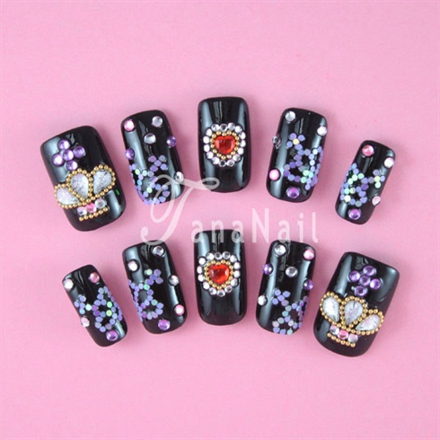 Black crown nail art