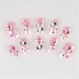 Pink rhinestone heart nails