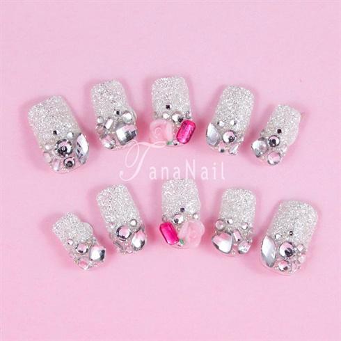 Silver Glitter Nails
