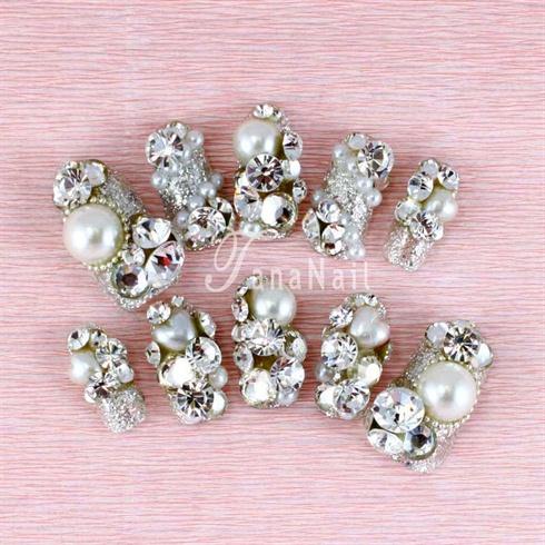 Silver rhinestone nails