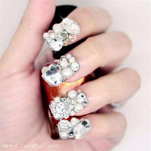 silver rhinestone nails nail art gallery