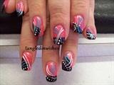 Pink and Black Abstract Nail Art