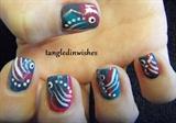 Tropical Abstract Fish Nail Art Design