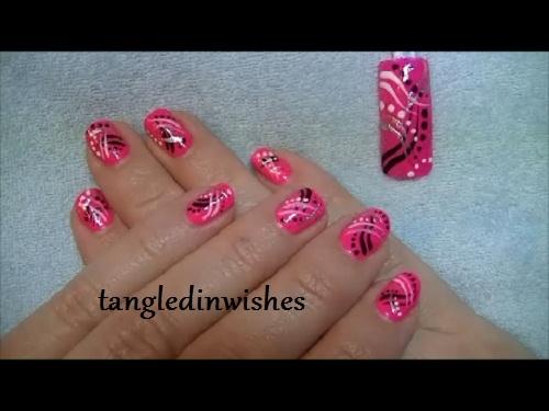 Pink/Black Abstract Nail Art Design