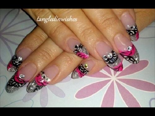 Glitzy Zebra Acrylic Nails