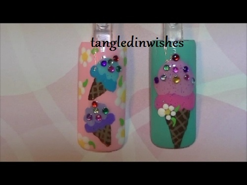 Cute Ice Cream Nail Art Design