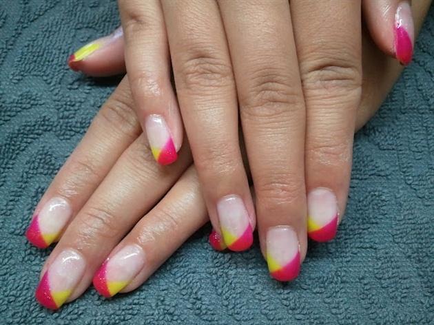 Hot Pink And Yellow Nail Art Gallery