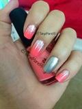 Bright Pink And Silver Glitter Mani