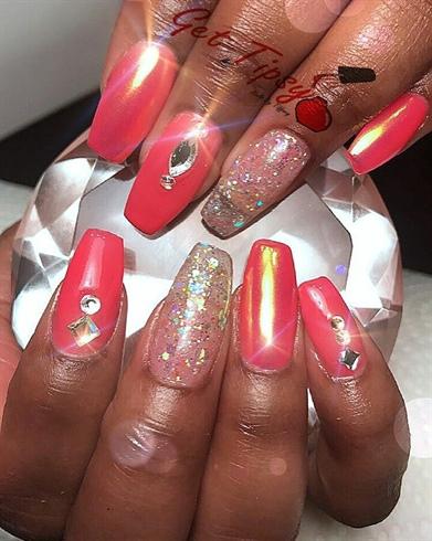 coral birthday nails