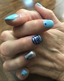 Nail dip with nail art-camo