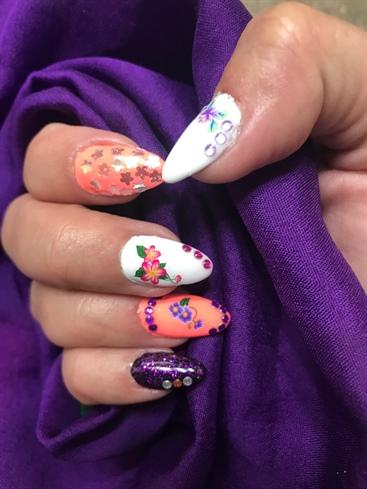 Purple and orange spring fling nails
