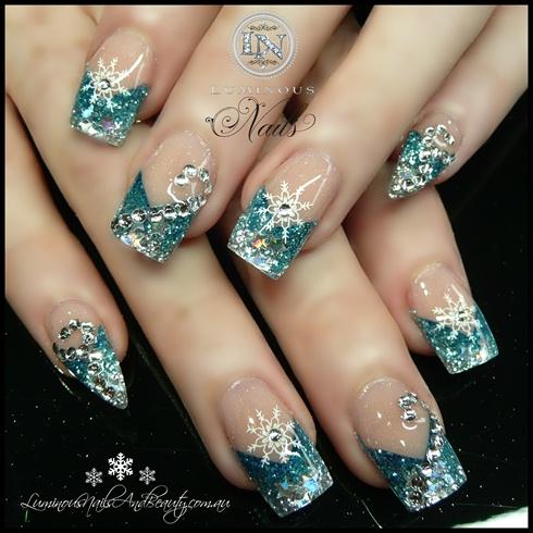 snow flake festive nails  nail art gallery