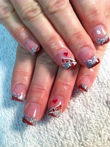 valentine glitter acrylic  nail art gallery
