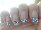 Blue flowers with zebra print