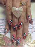 Coral Design with hand painted nail art
