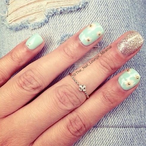 Mint Green Gold Stud Flower Nail Art Nail Art Gallery