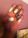 Blue And Yellow Ombre Nails