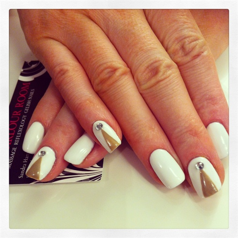 gelish white and brown