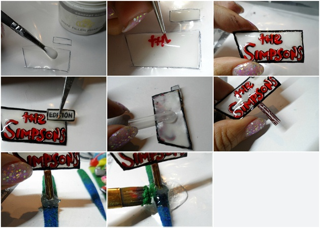 The Simpsons Sign: create the background with white builder gel. Draw out the letter, use straw as handle. Colour, and attach to nail tip.