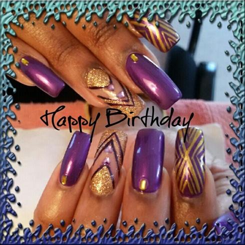 Purple N Gold Nail Art Gallery