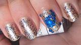 Rhinestone Paisley Nail Art in Blue