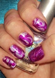 Water Marble Nail Art in Fuchsia Hologra