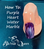 Purple Heart Nail Art Water Marble