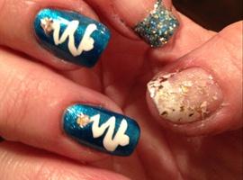 nail art: Blue Christmas