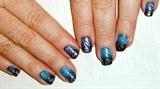 Blue Fade with Silver Swirls