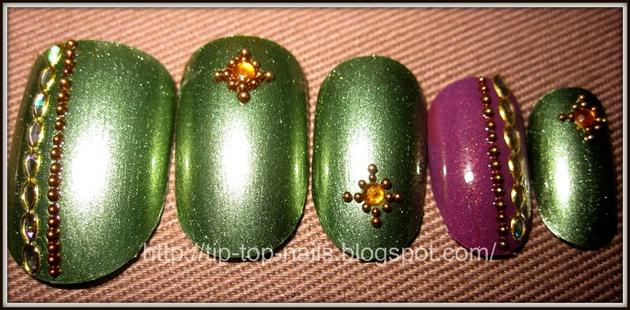 Stylish green nail art