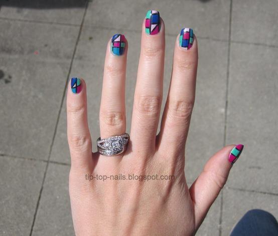 abstract nails, geometrical nails