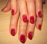 Red studded nails