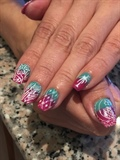 Ombre Nail With Stamping Art