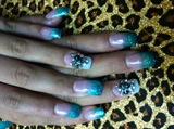 Aqua and turquoise nails