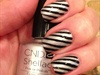 Silver And Black Pattern Nails