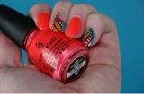 Neon Orange Hand Painted Nail Art