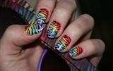 Rainbow Zebra Print Nail Art