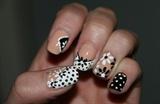 Black And White Flower Nail Art