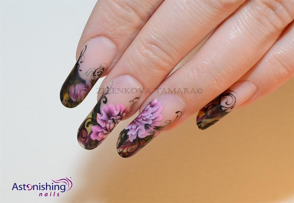 one stroke peony - Nail Art Gallery Step-by-Step Tutorial Photos