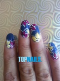 Floral Art Nails painted multi Color