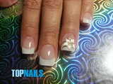 Floral Art Nails french head painted