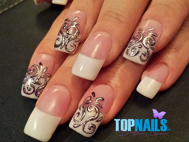 Acrylic Nails French With Foil Designs P Nail Art Gallery