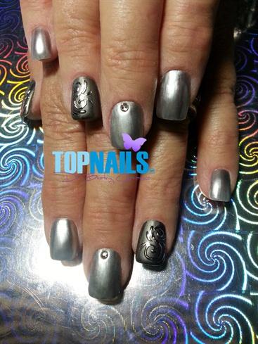 Acrylic Nails enamel metalic with foil d