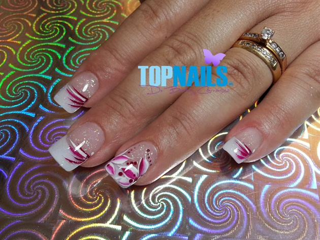 Acrylic Nails French with Floral designs