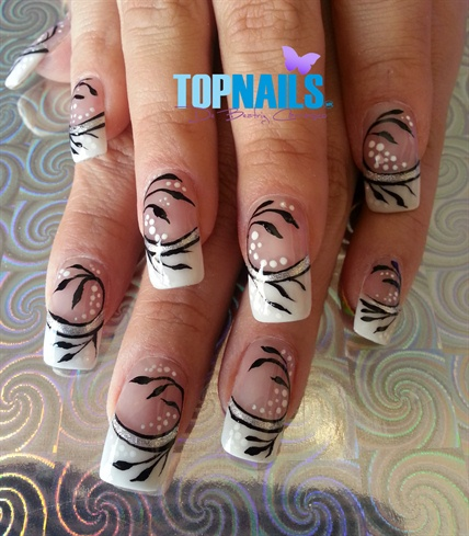 Acrylic Nails French with designs painte