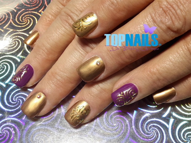 Acrylic Nails Enamel With Foil Designs Nail Art Gallery