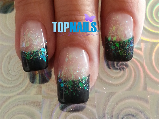Acrylic Nails French with glitter flakes